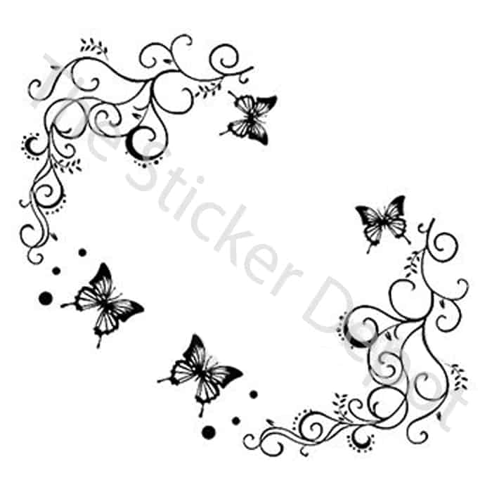 5 butterflies and 2 vines removable vinyl wall sticker personalised childs name butterfly wall sticker wall