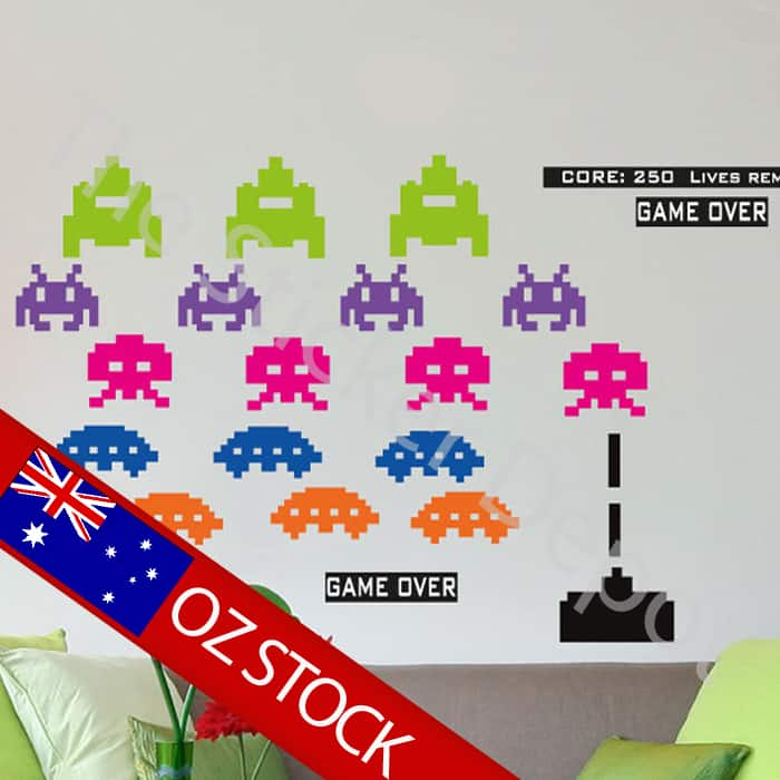 space invaders wall safe movable wall sticker space invaders wall sticker tenstickers