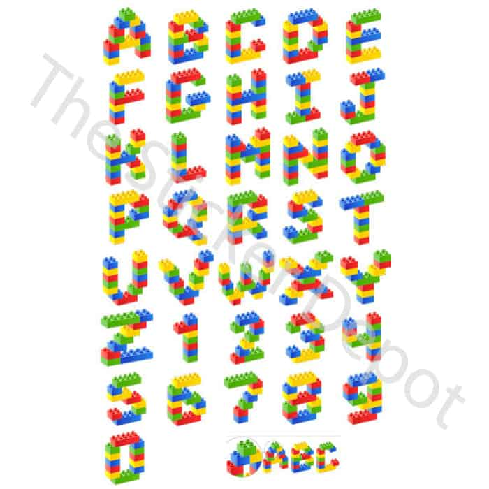 Personalised Lego Letter and Number Wall Safe MOVABLE Stickers ...