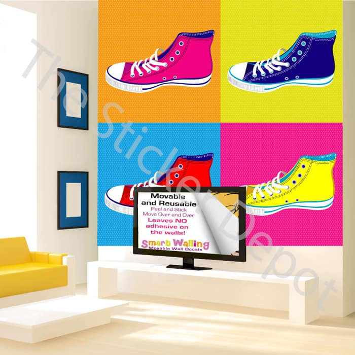 pop art sneakers wall safe movable wall sticker vinyl wall sticker art decal boom pop art retro comic ebay