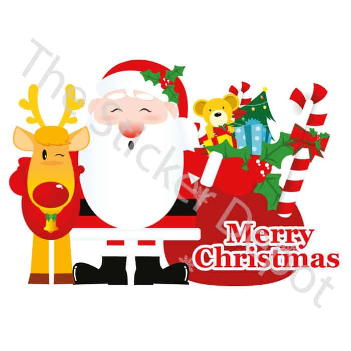 santa with reindeer and sack wall safe movable wall sticker - Santa With Reindeer
