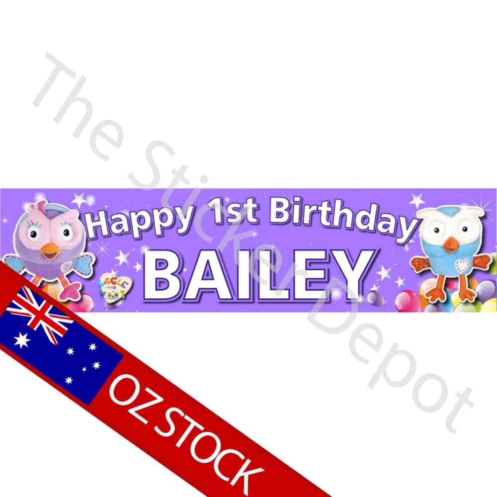 hoot hootabelle personalised pink birthday banner add your name