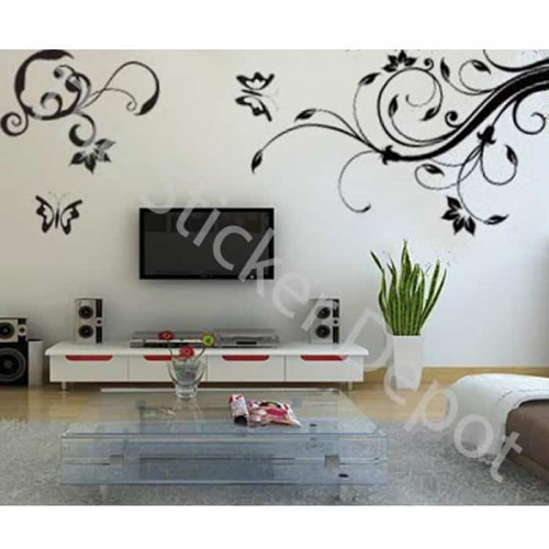 2 Vines with Butterflies Wall Sticker