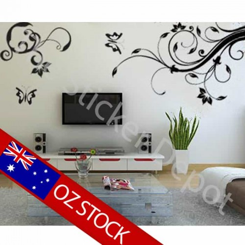 2 Vines with 2 Butterflies Wall Sticker
