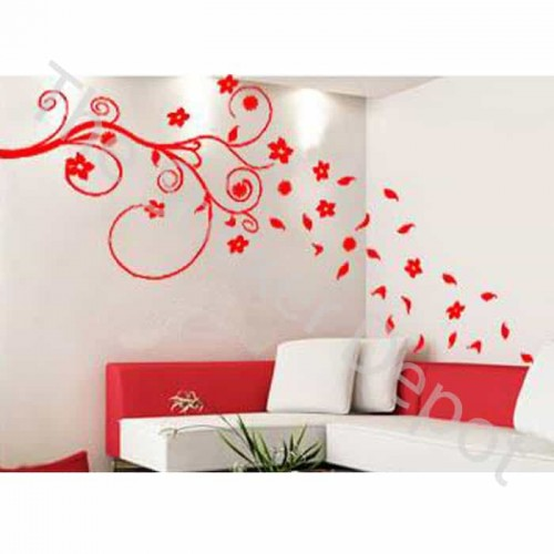 Branch with Falling Leaves and Flowers Wall Sticker