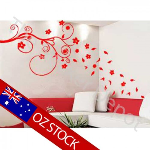 Branch with Falling Leaves Wall Sticker