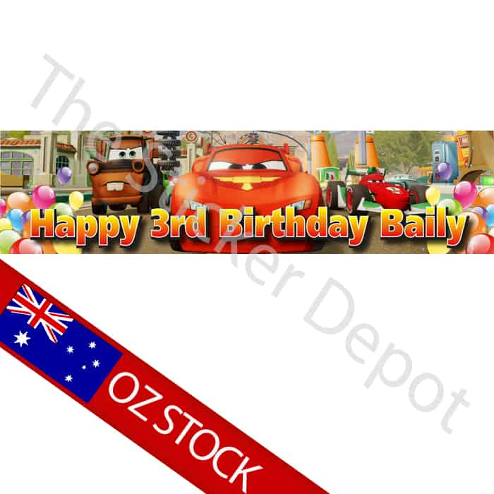disney cars personalised birthday banner add your name and age