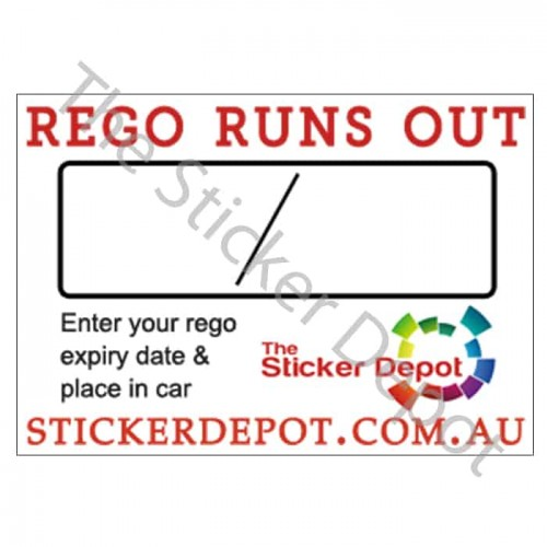Rego Runs Out Reminder Sticker