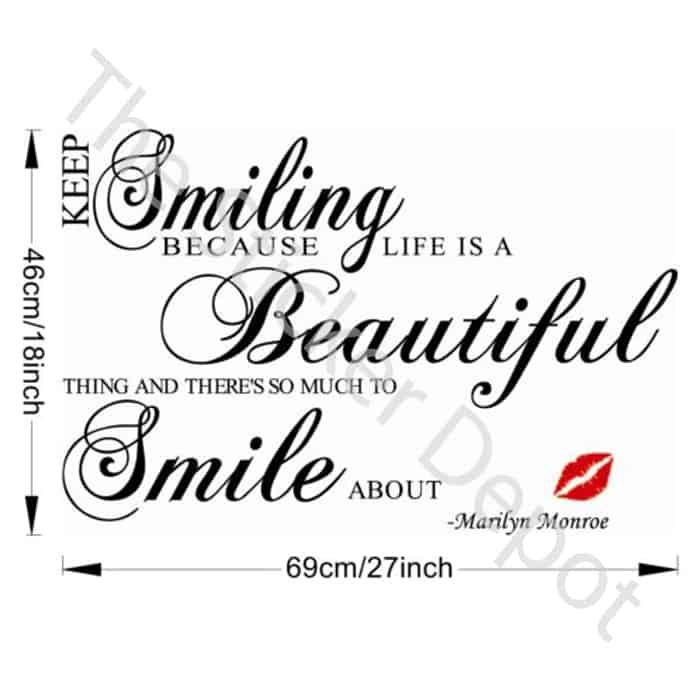 Marilyn Monroe Keep Smiling Quote Removable Vinyl Wall Sticker