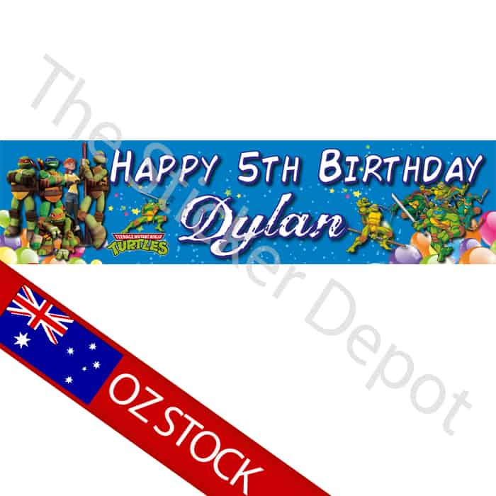 teenage mutant ninja turtles personalised birthday banner add your