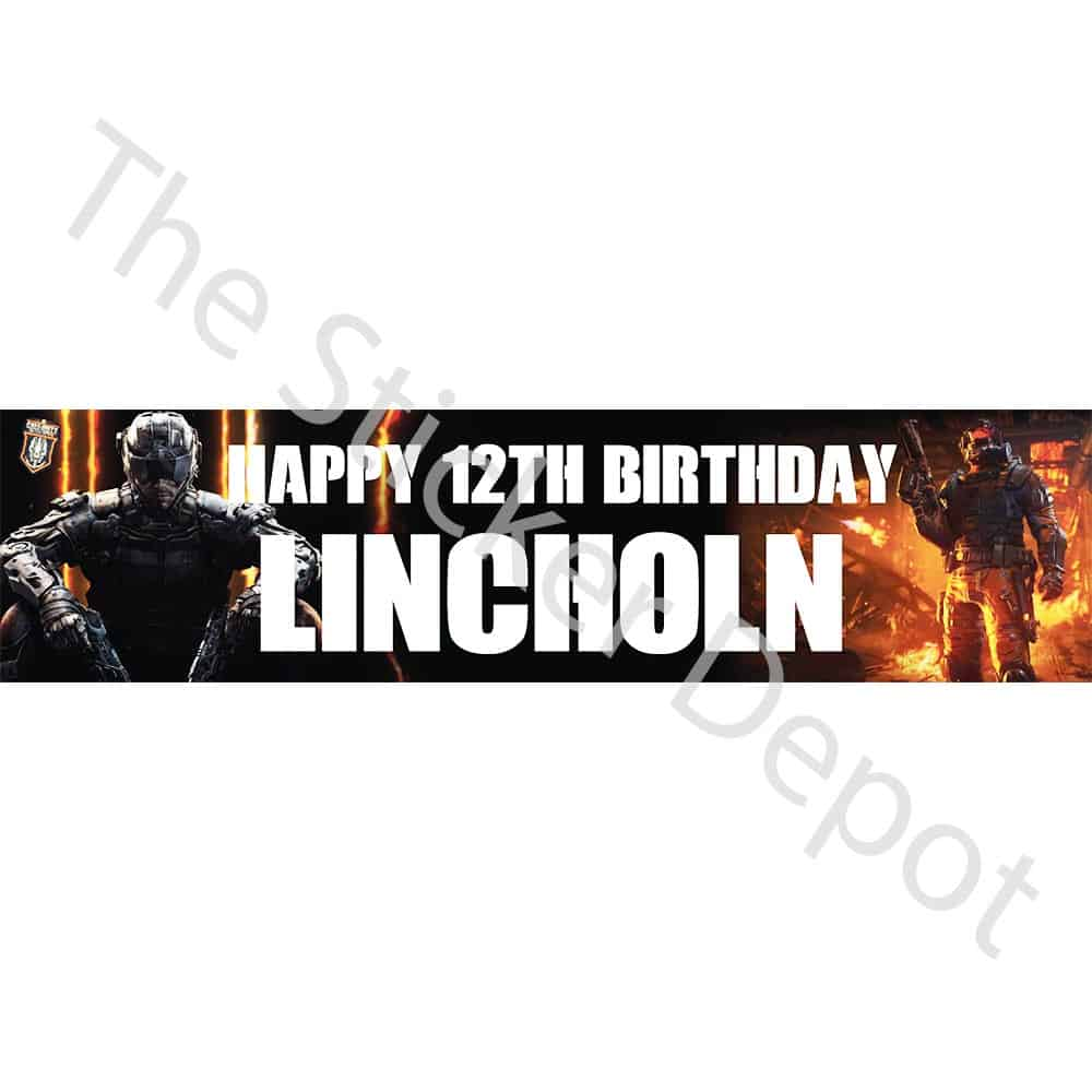 Call Of Duty COD Personalised Birthday Banner