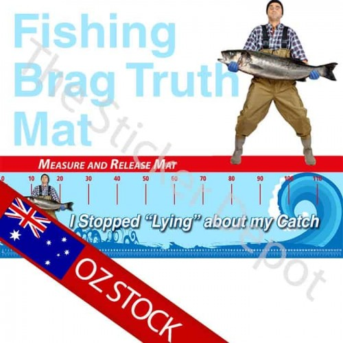 Fishing Stop Lying Brag Truth Measure Mat