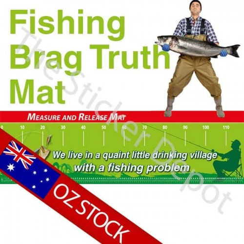 Fishing Quaint Village Brag Truth Measure Mat
